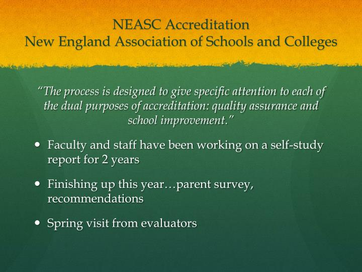 Neasc accreditation new england association of schools and colleges