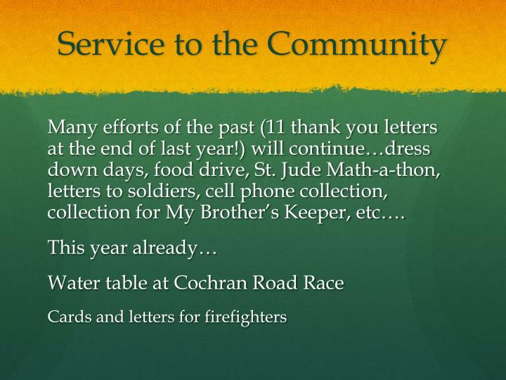 Service to the Community