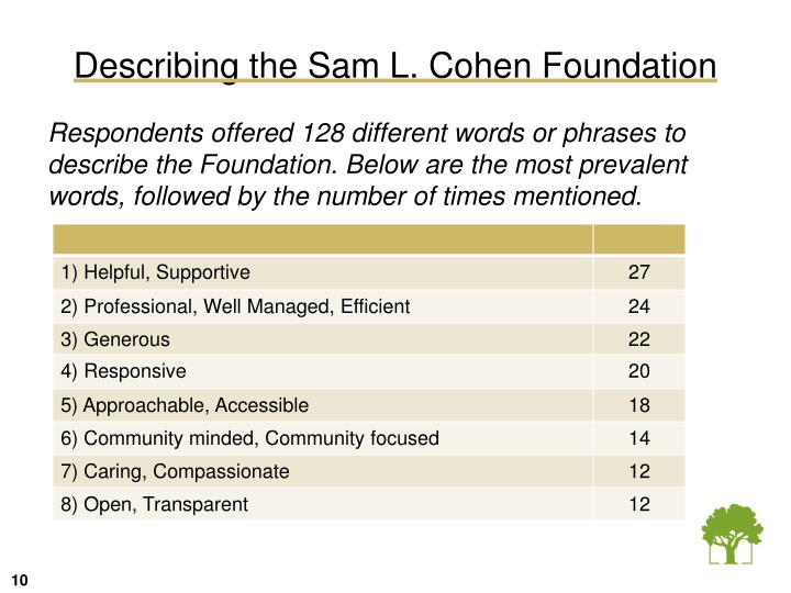 Describing the Sam L. Cohen Foundation
