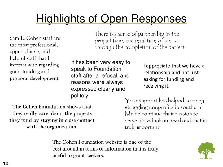 Highlights of Open Responses