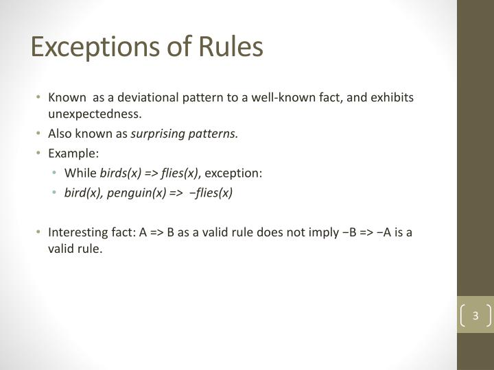 Exceptions of Rules