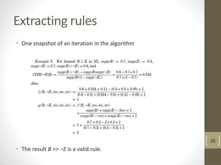Extracting rules