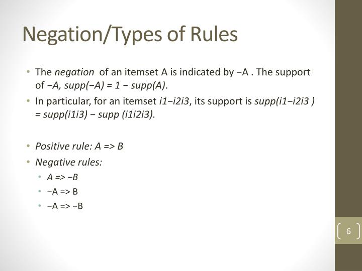 Negation/Types of Rules