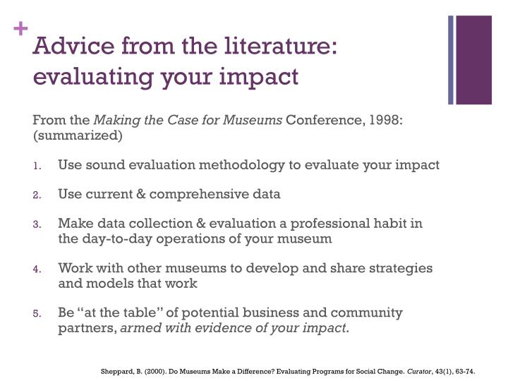 Advice from the literature: evaluating your impact