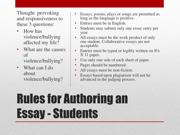 Rules for authoring an essay students