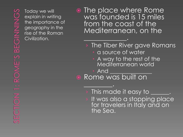 The place where Rome was founded is 15 miles from the coast of the Mediterranean, on the ____________.