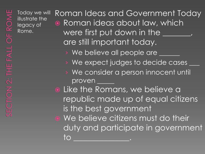 Roman Ideas and Government Today