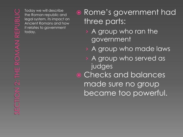 Rome's government had three parts: