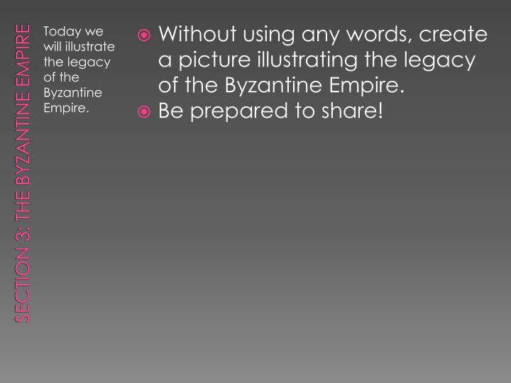 Without using any words, create a picture illustrating the legacy of the Byzantine Empire.