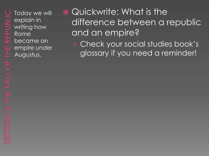 Quickwrite: What is the difference between a republic and an empire?