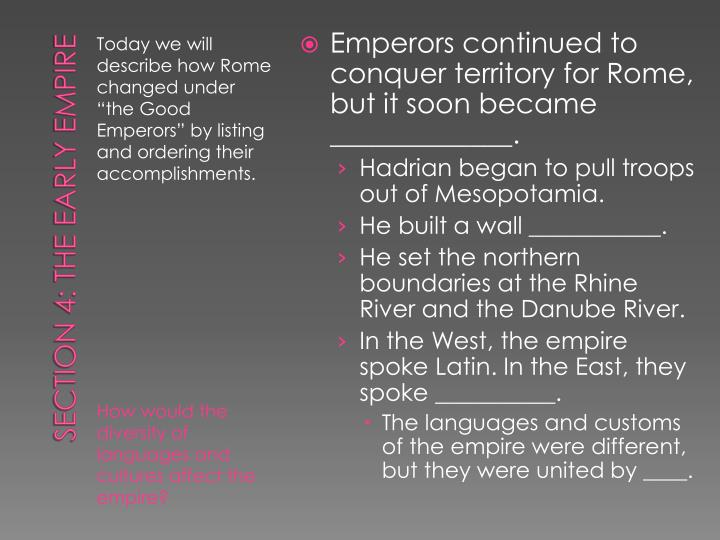 Emperors continued to conquer territory for Rome, but it soon became _____________.