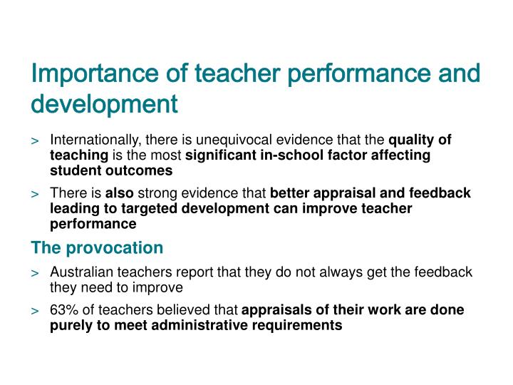 Importance of teacher performance and development