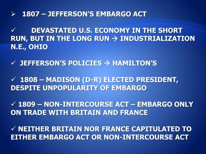 1807 – JEFFERSON'S EMBARGO ACT