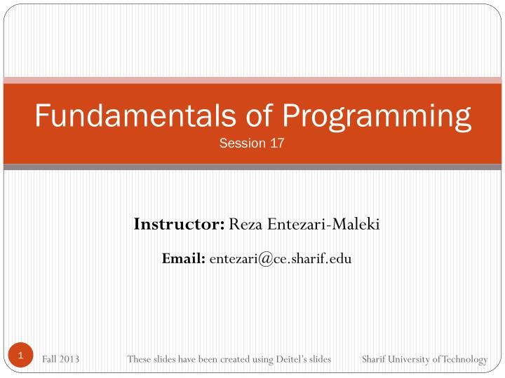 Fundamentals of programming session 17
