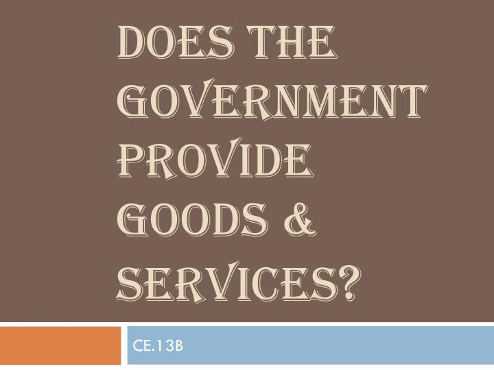 Does the government provide goods services