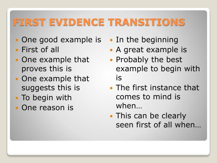 First evidence transitions