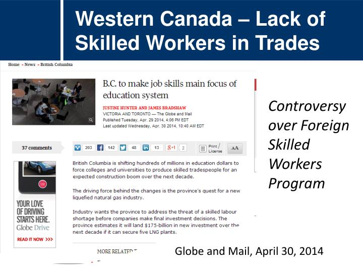 Western Canada – Lack of Skilled Workers in Trades