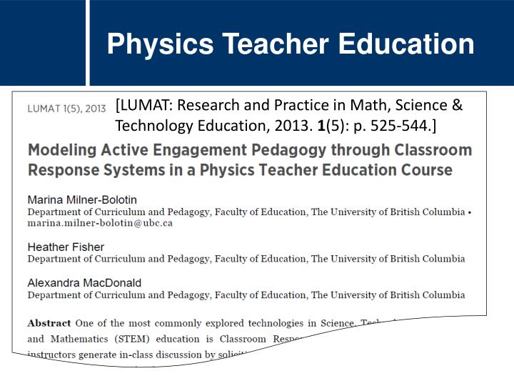 Physics Teacher Education