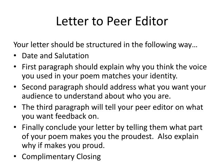 Letter to Peer Editor