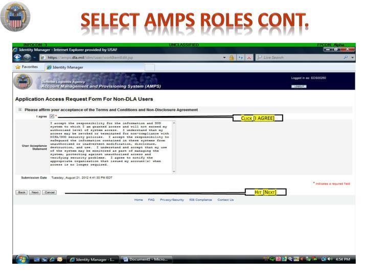 select amps roles cont.