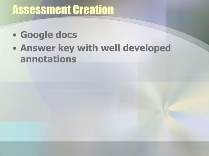 Assessment Creation