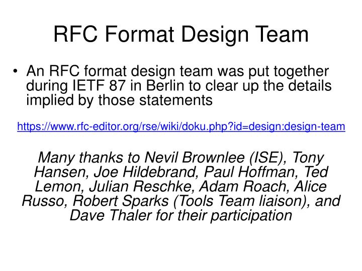 RFC Format Design Team