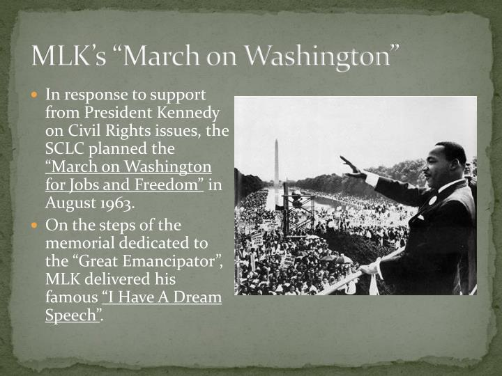 march washington rights civil mlk powerpoint movement presentation ppt death response president jfk 1960s backed act johnson