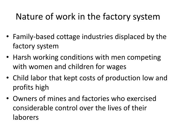 Nature of work in the factory system
