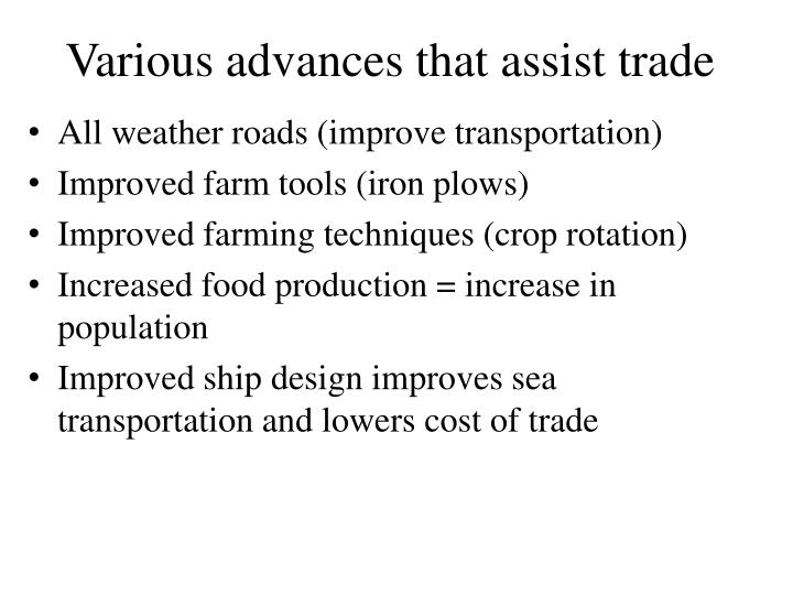 Various advances that assist trade