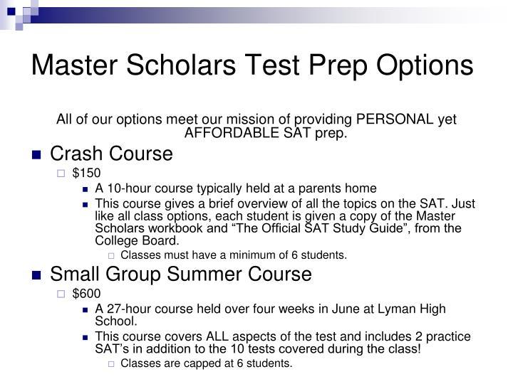 Master Scholars Test