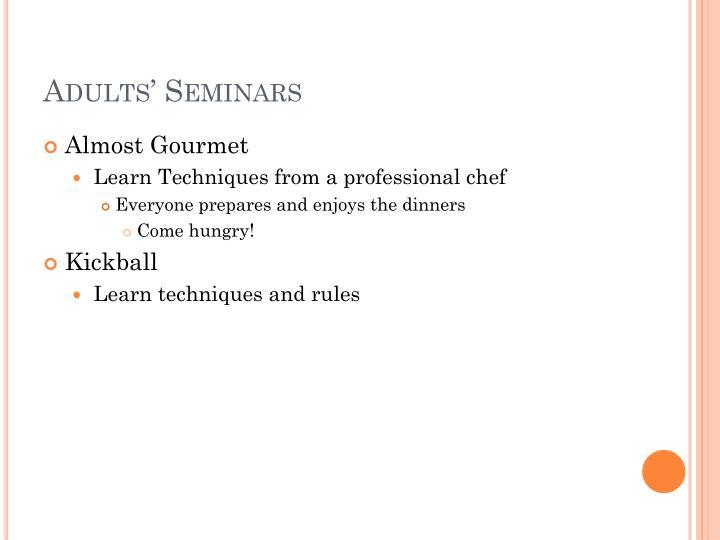 Adults' Seminars