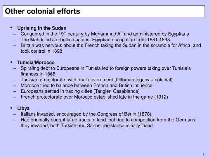 Other colonial efforts