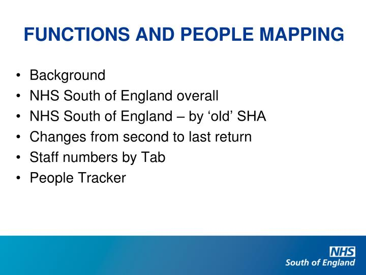 FUNCTIONS AND PEOPLE MAPPING