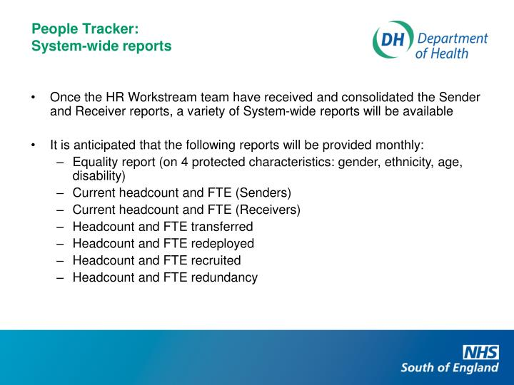 Once the HR Workstream team have received and consolidated the Sender and Receiver reports, a variety of System-wide reports will be available
