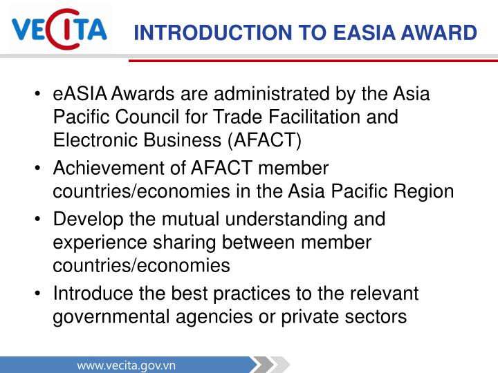 INTRODUCTION TO EASIA AWARD
