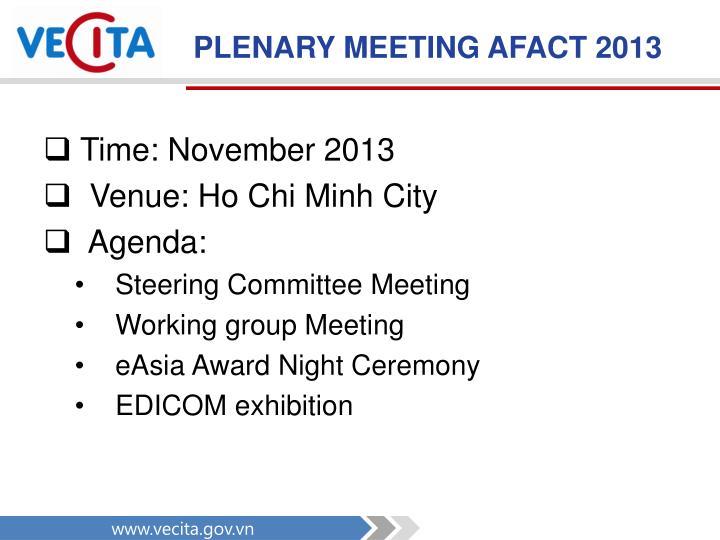 PLENARY MEETING AFACT 2013
