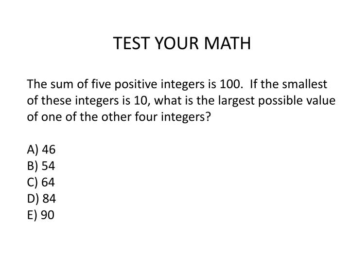 TEST YOUR MATH