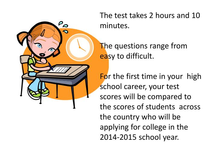 The test takes 2 hours and 10 minutes.
