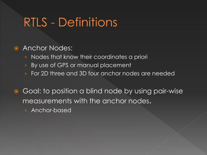 RTLS - Definitions