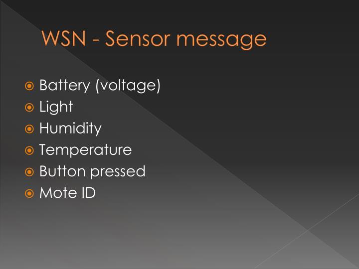 WSN - Sensor message