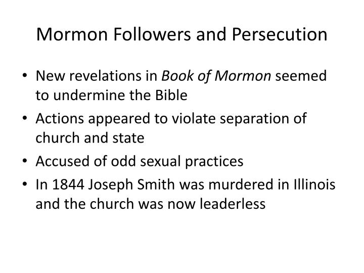 Mormon Followers and Persecution