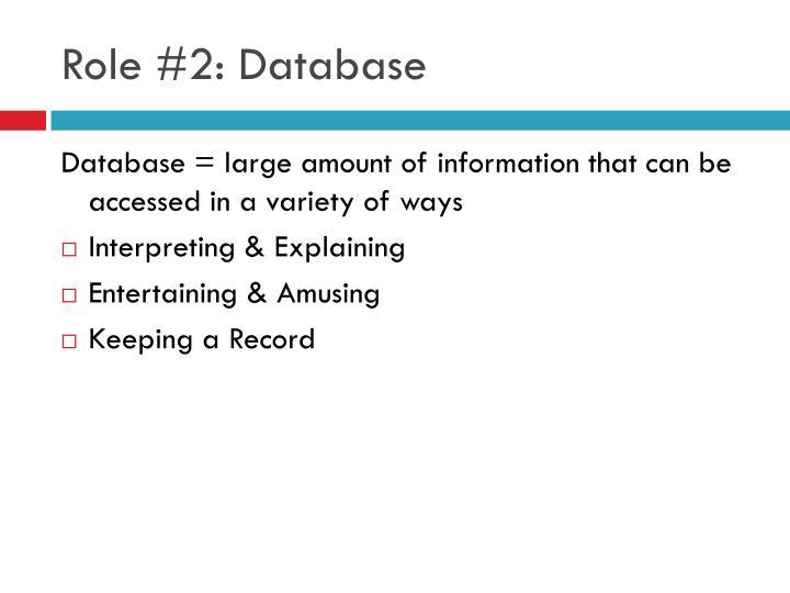 Role #2: Database
