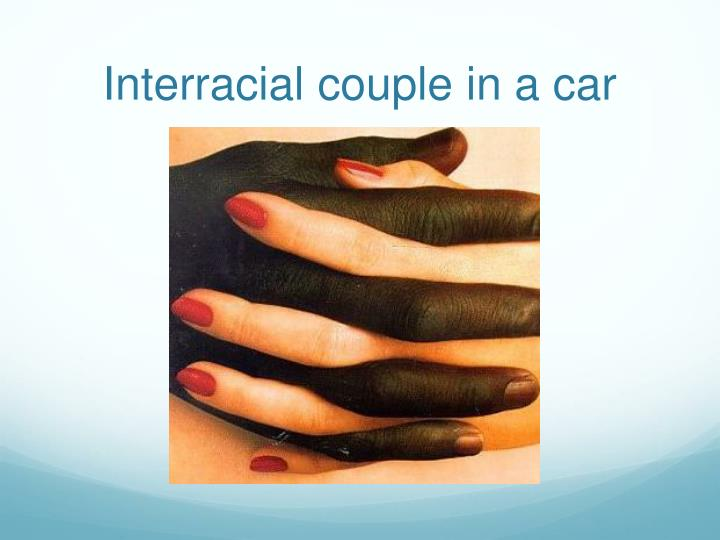 Interracial couple in a car