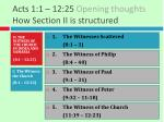 acts 1 1 12 25 opening thoughts how section ii is structured