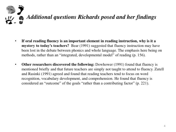 Additional questions Richards posed and her findings