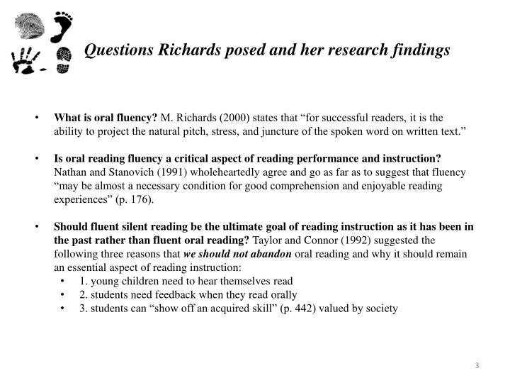 Questions Richards posed and her research findings