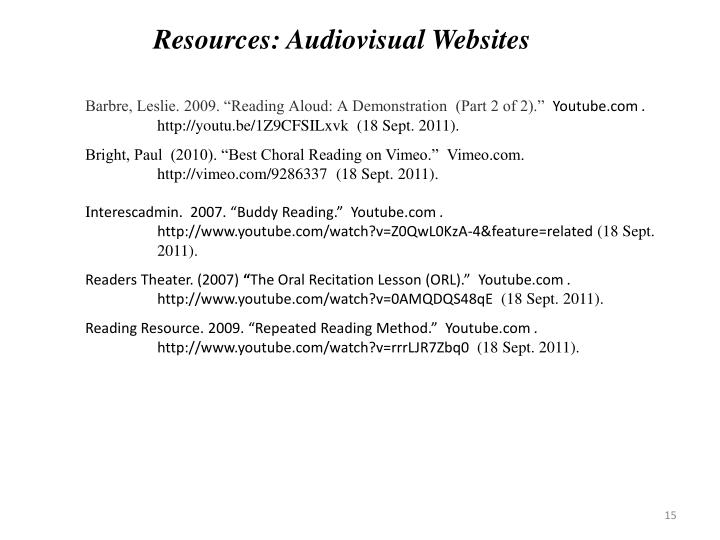Resources: Audiovisual Websites