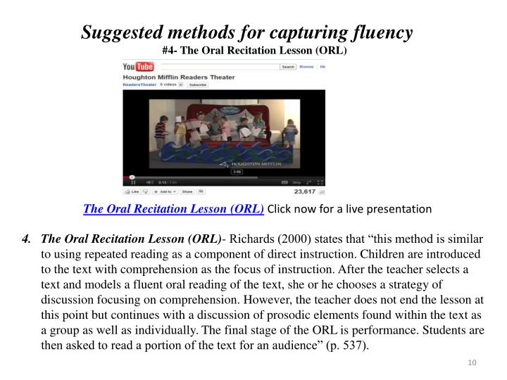 Suggested methods for capturing fluency