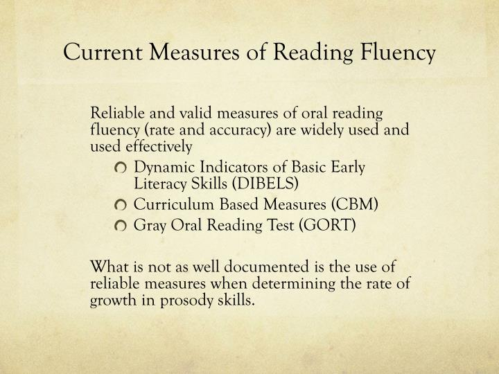 Current Measures of Reading Fluency