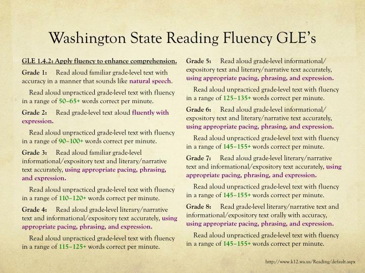 Washington State Reading Fluency GLE's